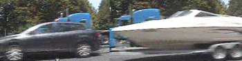 Combined photo of vehicle and tractor trailer believed involved in fatal Brian Durst accident (Lamar County Police Vehicle/Alpharetta Patch)