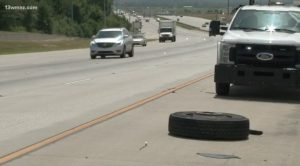 I-75 Accident in Macon Involving Tractor-Trailer Tire Injures One Person.
